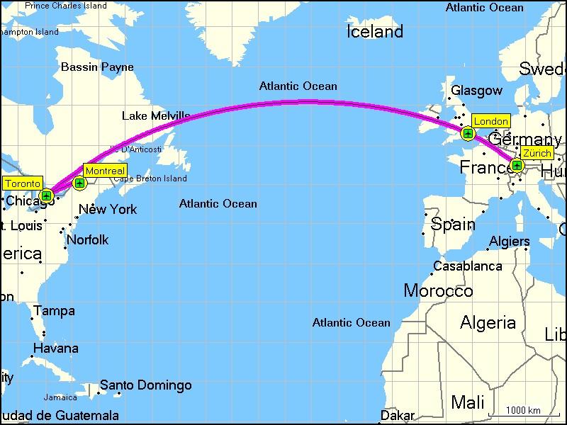 Karte mit flugstrecke von montreal via toronto und london nach