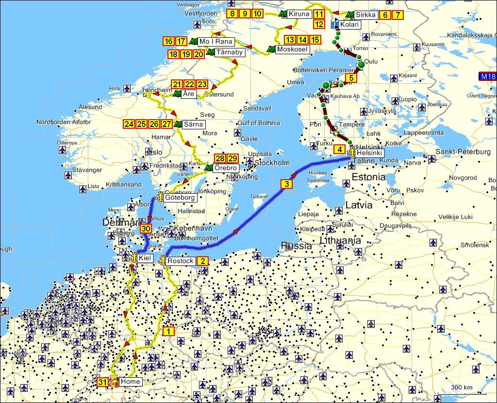 campingplätze norwegen karte reise nach nordschweden sommer 2008   gesamtroute campingplätze norwegen karte